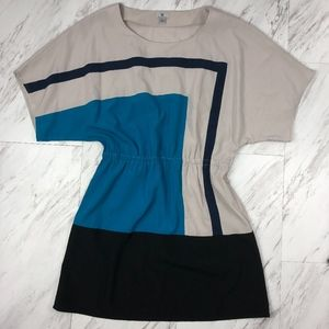 Worthington Color Block Shift Dress Size 16 NWOT